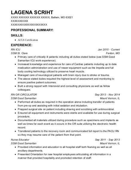 Rn Icu resume sample Missouri