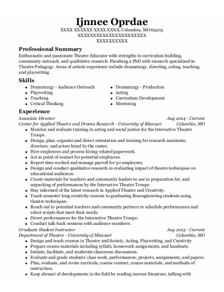 Associate Director resume sample Missouri
