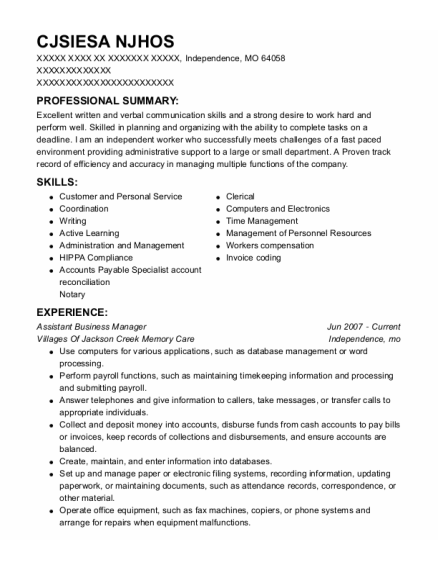 Assistant Business Manager resume format Missouri