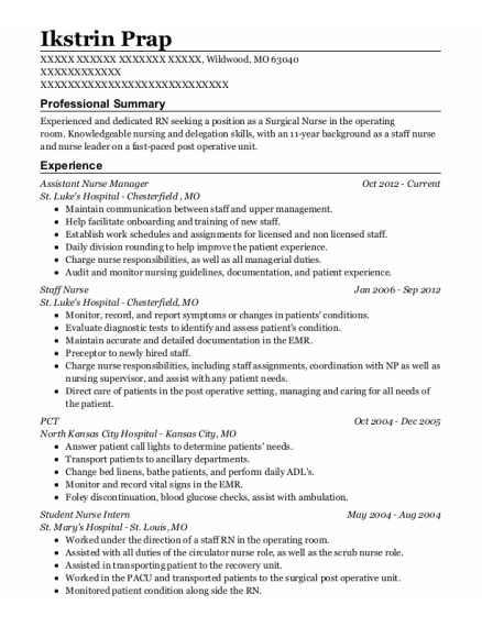 Assistant Nurse Manager resume example Missouri