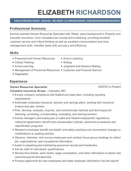 Human Resources Specialist resume template Missouri