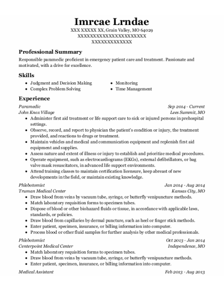 Paramedic resume example Missouri
