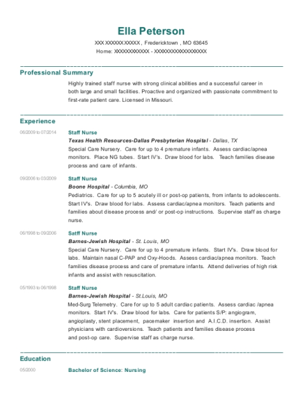 Staff Nurse resume format Missouri