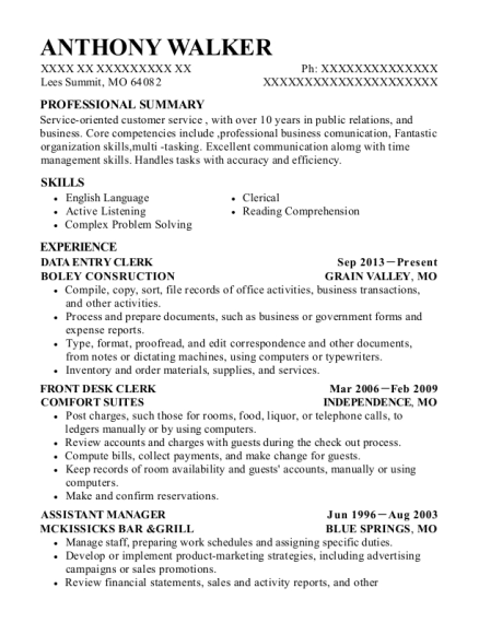 Data Entry Clerk resume format Missouri