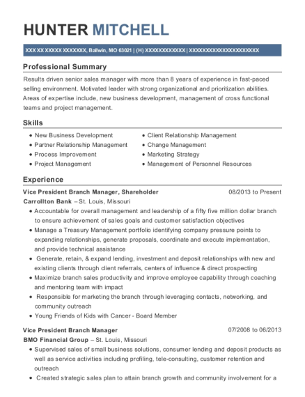 Vice President Branch Manager resume example Missouri