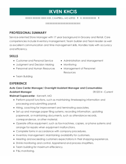 Overnight Support Manager resume example Missouri