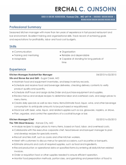 Kitchen Manager resume example Missouri