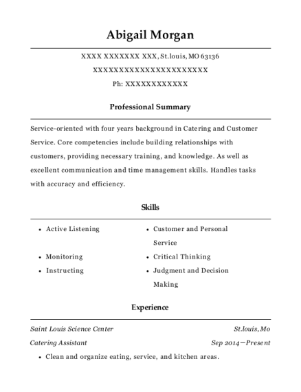 Catering Assistant resume template Missouri