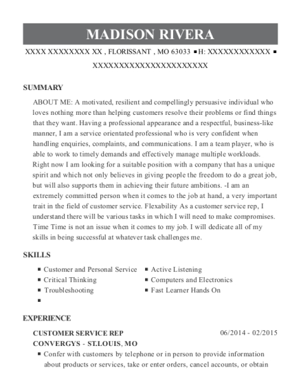 CUSTOMER SERVICE REP resume format Missouri