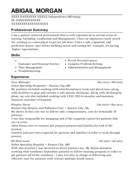 Case Manager resume sample Missouri