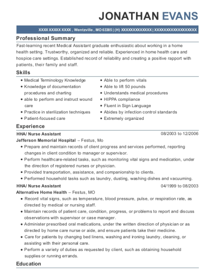 HHA resume example Missouri