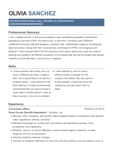 Corrections Officer resume example Missouri
