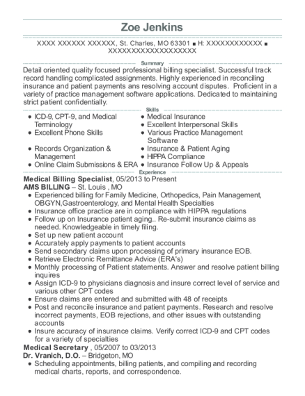 Medical Billing Specialist resume example Missouri