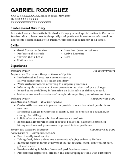 Delivery Driver resume template Missouri