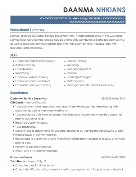 Customer Service Supervisor resume template Missouri