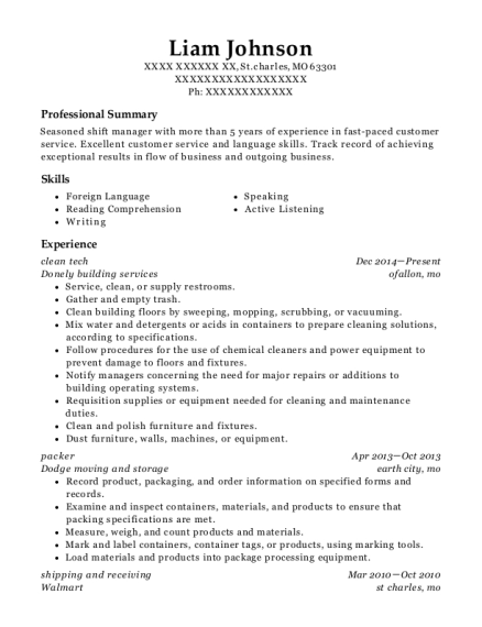 clean tech resume example Missouri