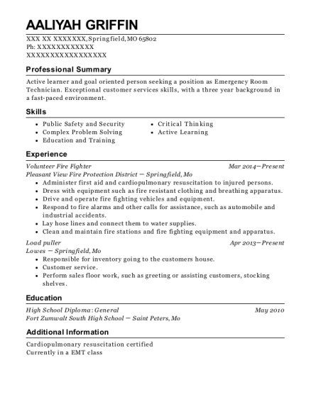Volunteer Fire Fighter resume sample Missouri