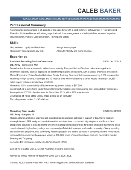 Assistant Recruiting Station Commander resume sample Missouri