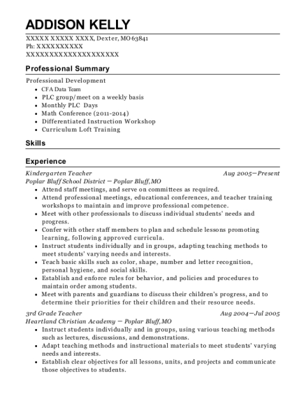Kindergarten Teacher resume sample Missouri