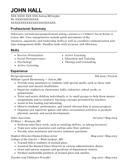Paraprofessional resume sample Missouri