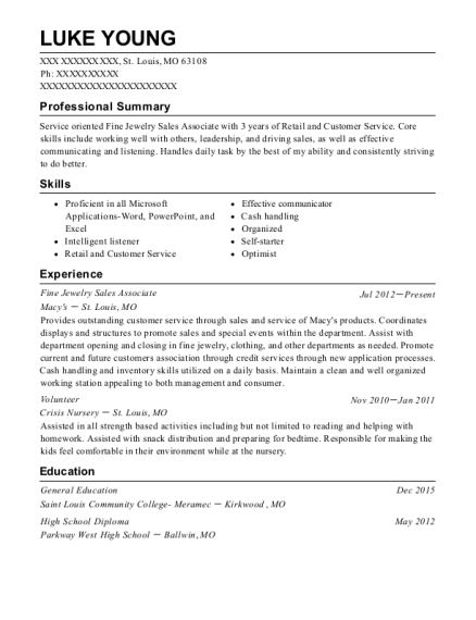 Fine Jewelry Sales Associate resume sample Missouri