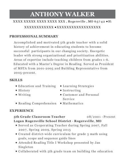 5th Grade Classroom Teacher resume format Missouri