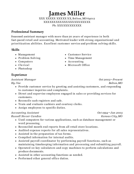 Assistant Manager resume format Missouri