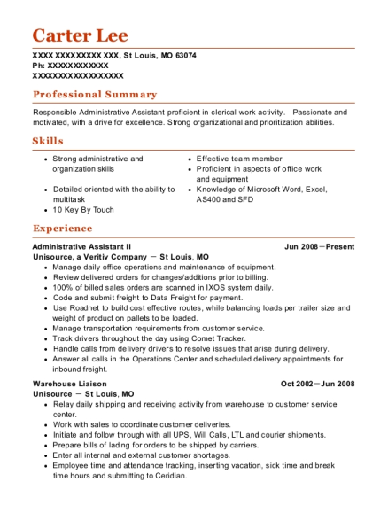 Administrative Assistant II resume template Missouri