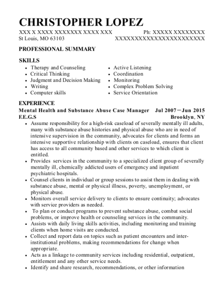 Mental Health and Substance Abuse Case Manager resume sample Missouri