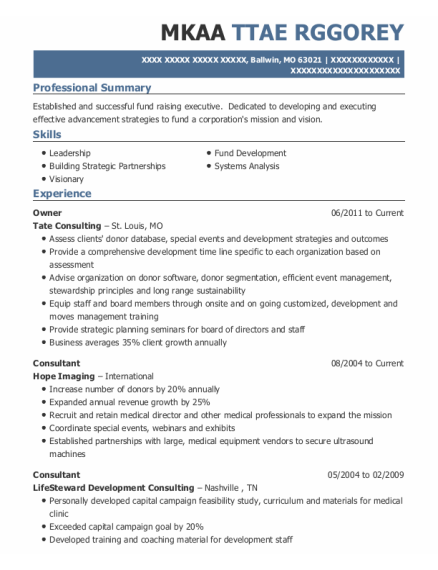 Owner resume format Missouri