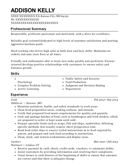 Cook resume template Missouri