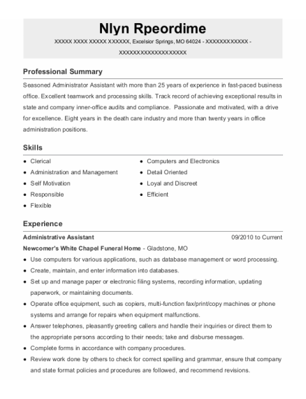 Administrative Assistant resume template Missouri
