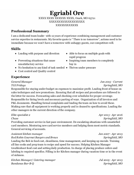 General Manager resume example Missouri