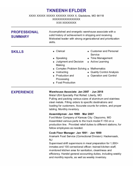 Warehouse Associate resume template Missouri