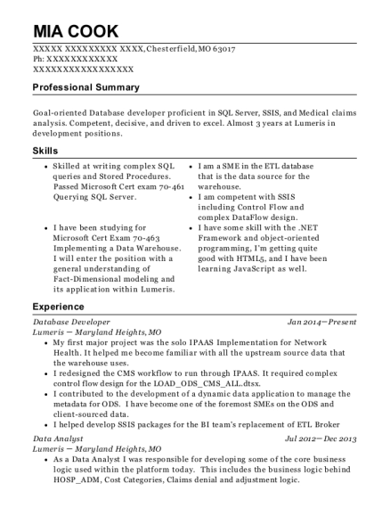 Database Developer resume template Missouri