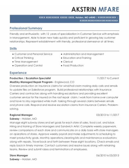Production resume example Missouri