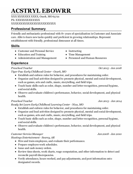 Preschool Teacher resume sample Missouri