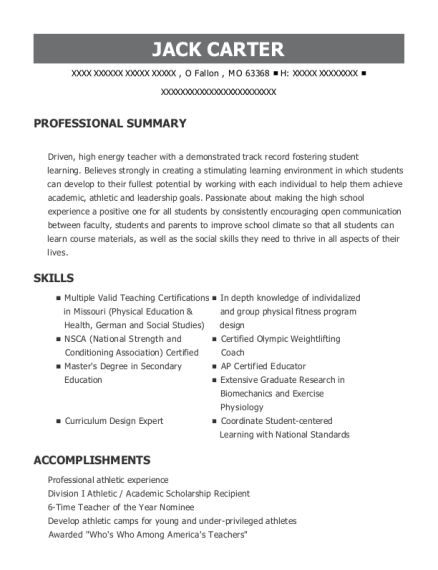 Teacher resume example Missouri