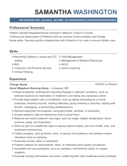 Charge Nurse resume sample Missouri