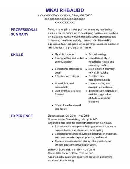 Behavior Specialist resume sample Missouri