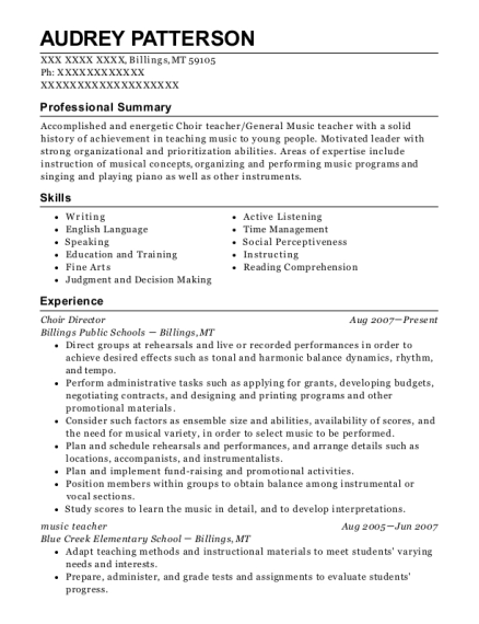 Choir Director resume example Montana