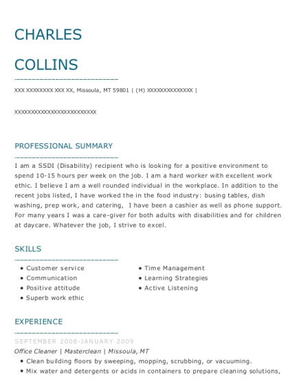 Office Cleaner resume template Montana