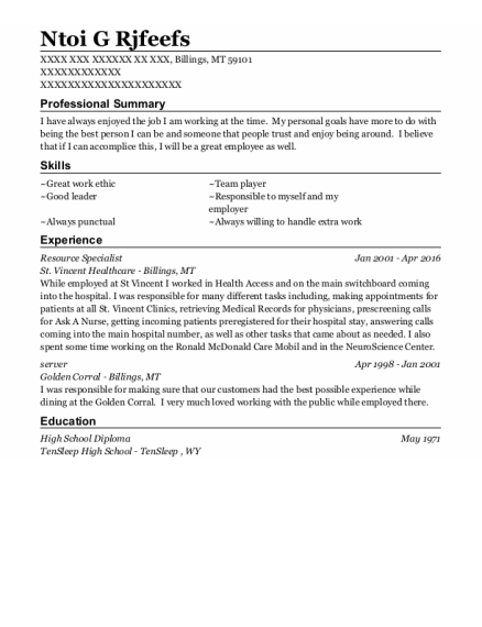 Resource Specialist resume example Montana