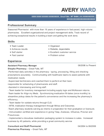 Assistant Pharmacy Manager resume example Montana