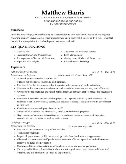 Administrative Manager resume template Montana