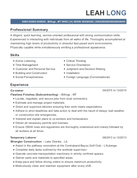 Co owner resume template Montana