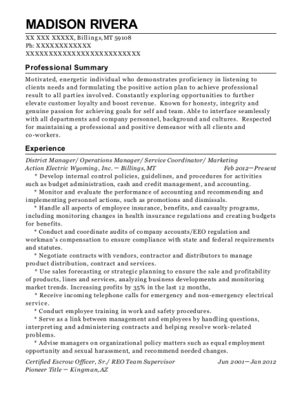 District Manager resume format Montana