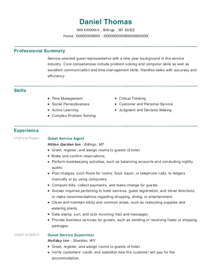Guest Service Agent resume format Montana
