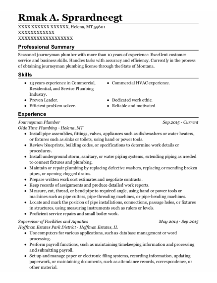 Journeyman Plumber resume sample Montana