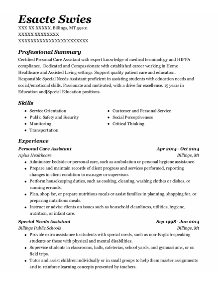 Personal Care Assistant resume template Montana